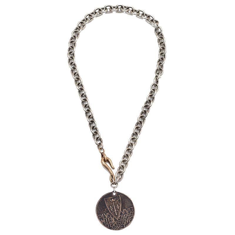 Joan of Arc Protection Prayer Statement Coin Necklace