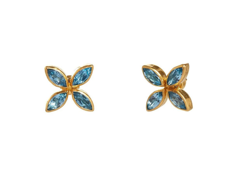Rune Wisteria Blue Topaz Stud Earrings