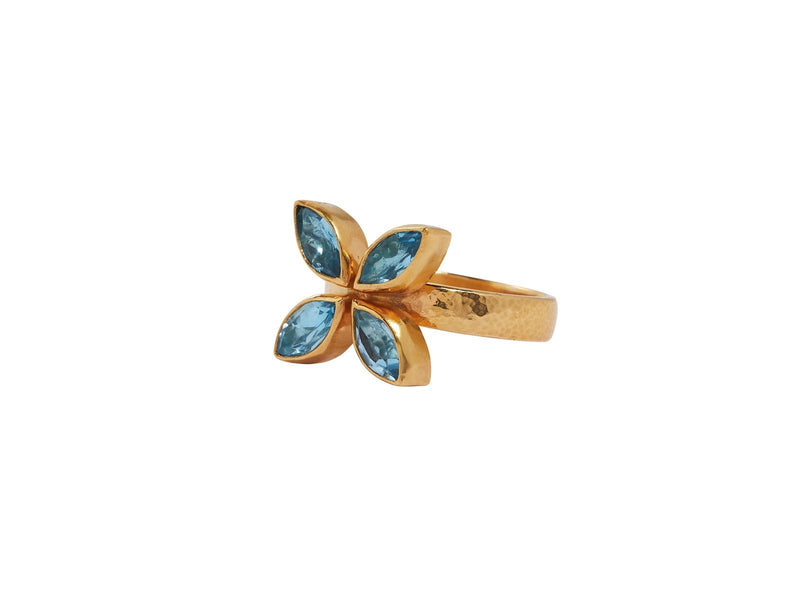 Blue Topaz and Gold Bezel Cluster Ring