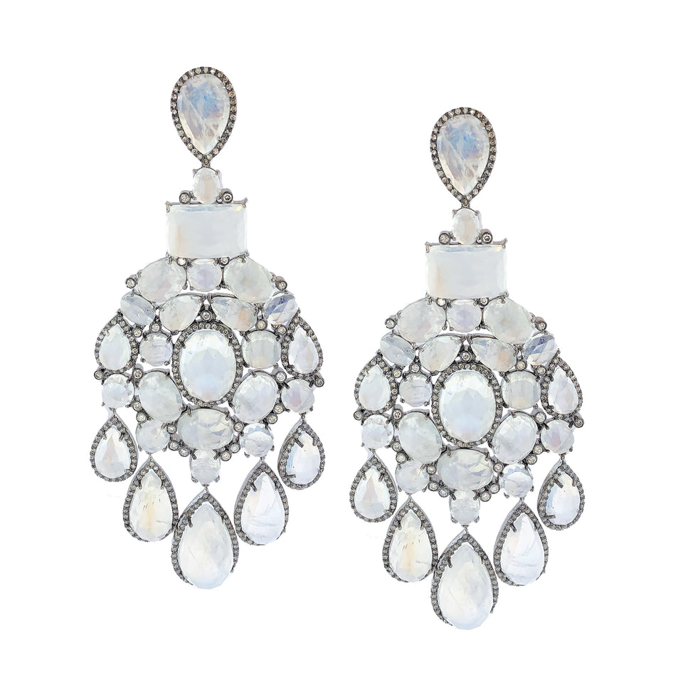 Pave Diamond and Moonstone Earrings