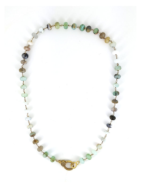 18'' Amazonite Necklace with Gold and Diamond Clasp