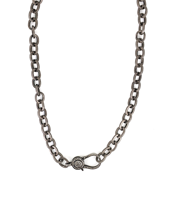 Thick Silver Link Chain with  Diamond Clasp