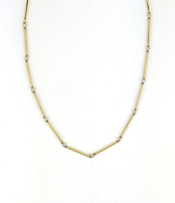 14''-16'' Gold Bar and Diamond Necklace