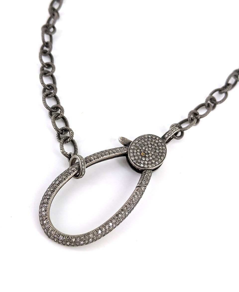 Oxidized Silver Rope Link Necklace Chain