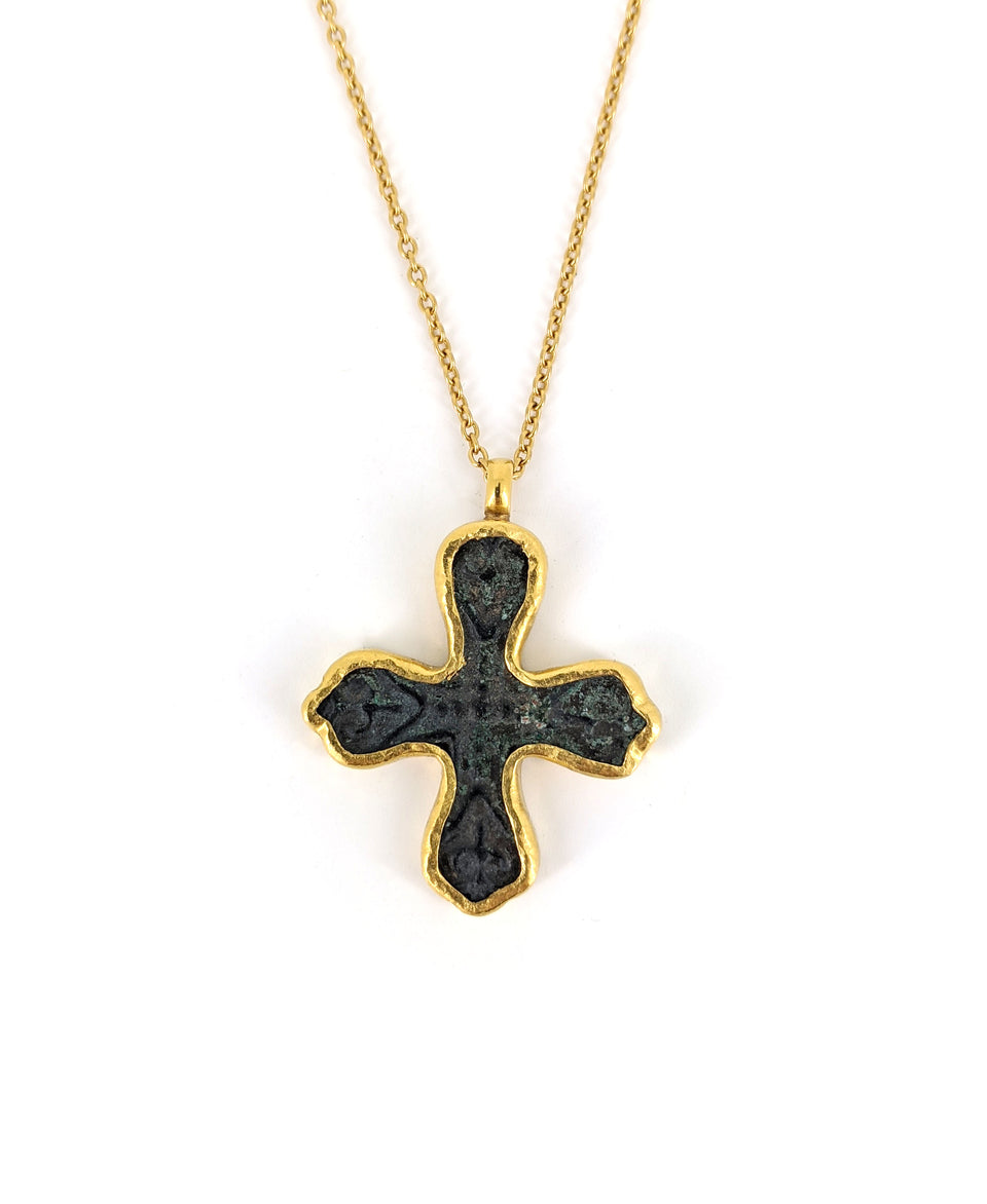 One of a Kind Bronze Cross Pendant Necklace
