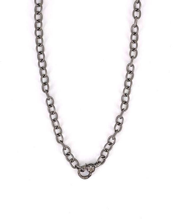 "16"" Delicate Chain with Pave Diamond Clasp"