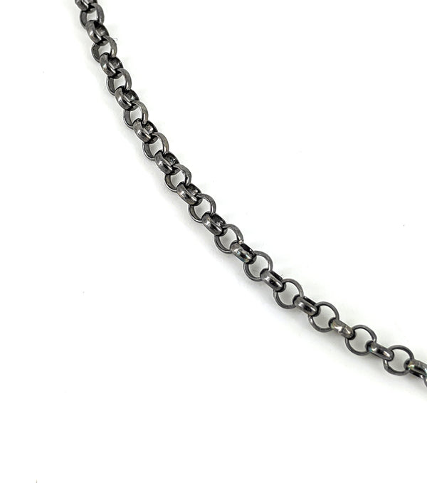 15.5''-16.5''Small Oxidized Silver Chain