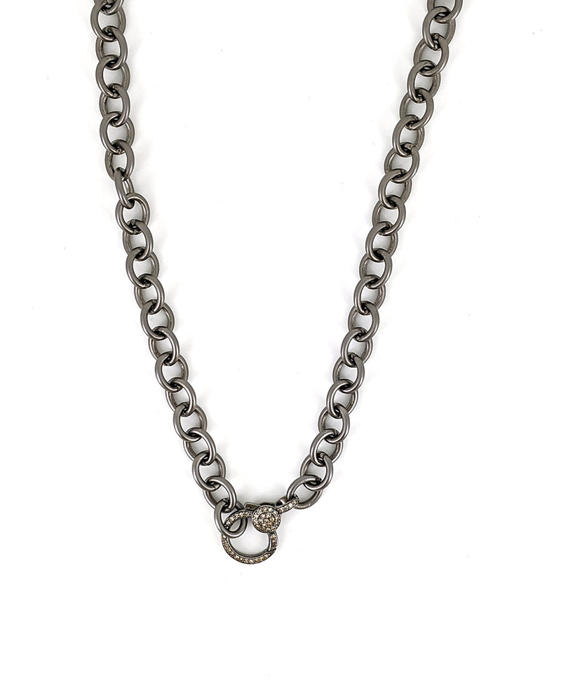 Silver Link Chain with  Diamond Clasp