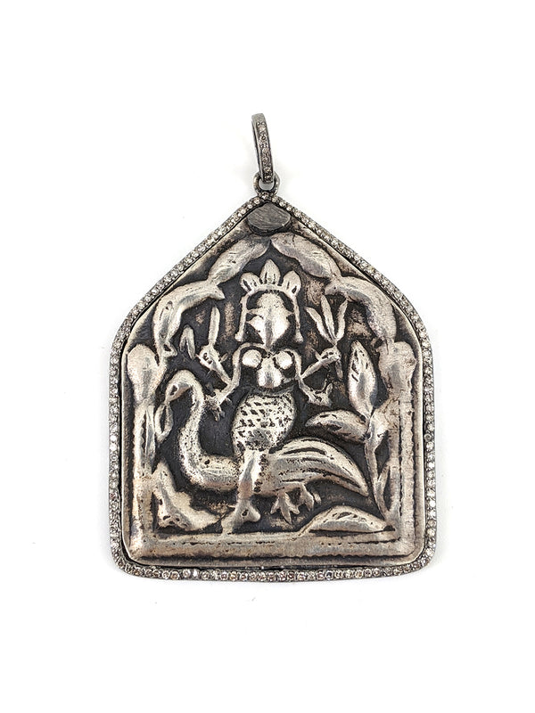 Pave Diamond Bird Deity Pendant
