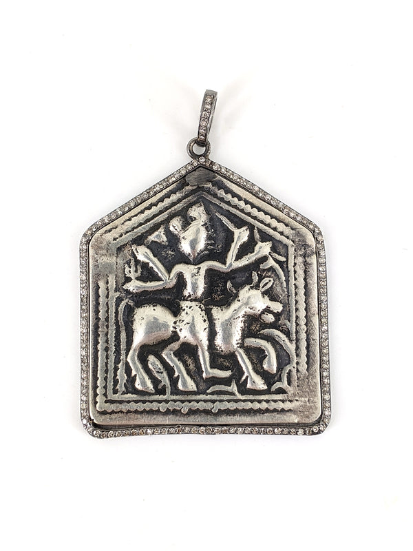 Pave Diamond Cow Deity Pendant