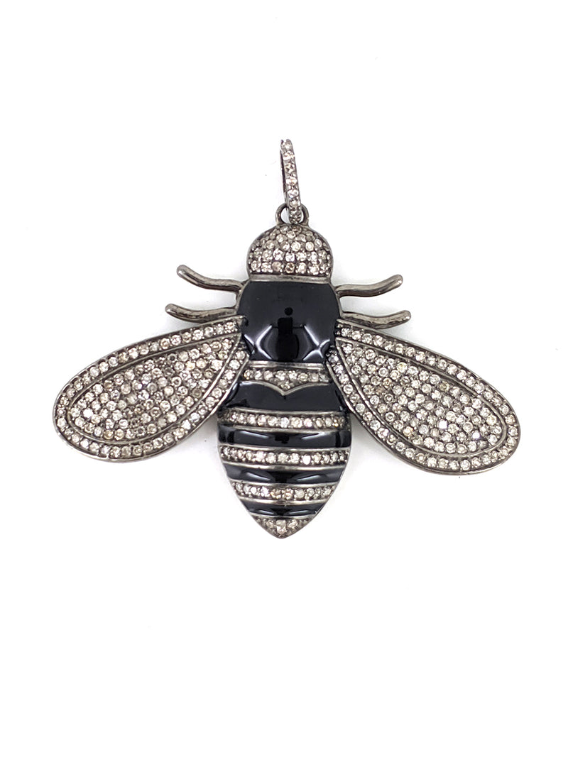 Black Enamel and Diamond Stripe Bee Pendant