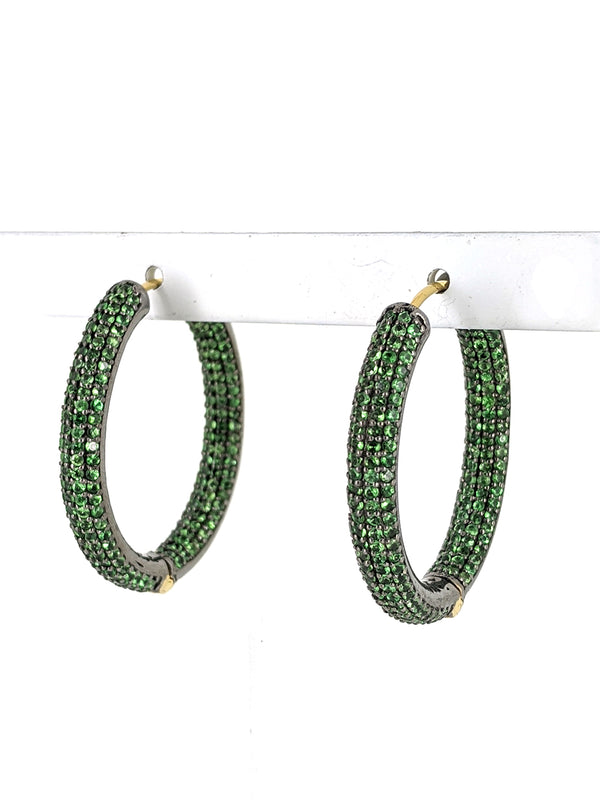 Tsavorite Pave Hoop Gold Wire Earrings