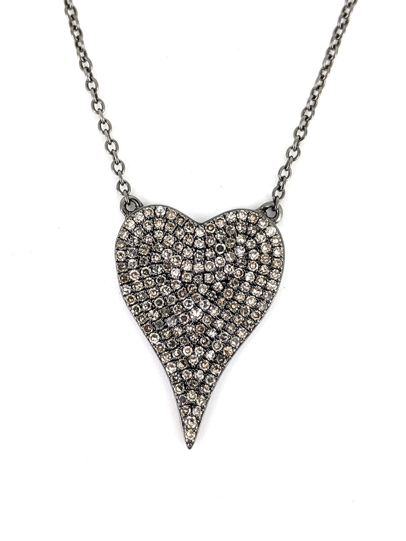 Diamond Heart Silver Necklace