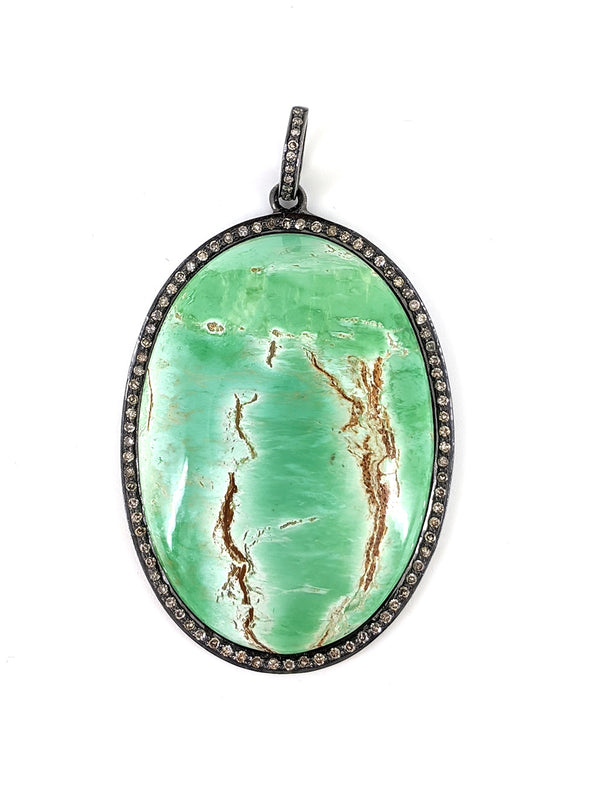 Amazonite Rose Cut Diamond and Silver Oval Pendant
