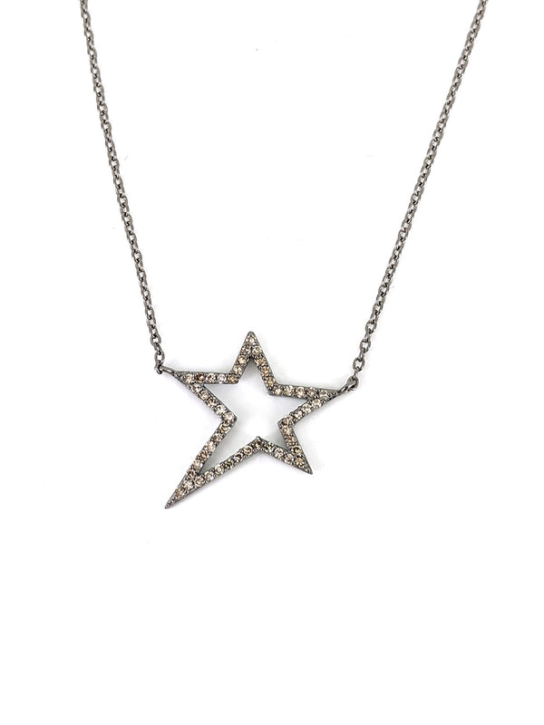 Hollow Shooting Star Silver Necklace