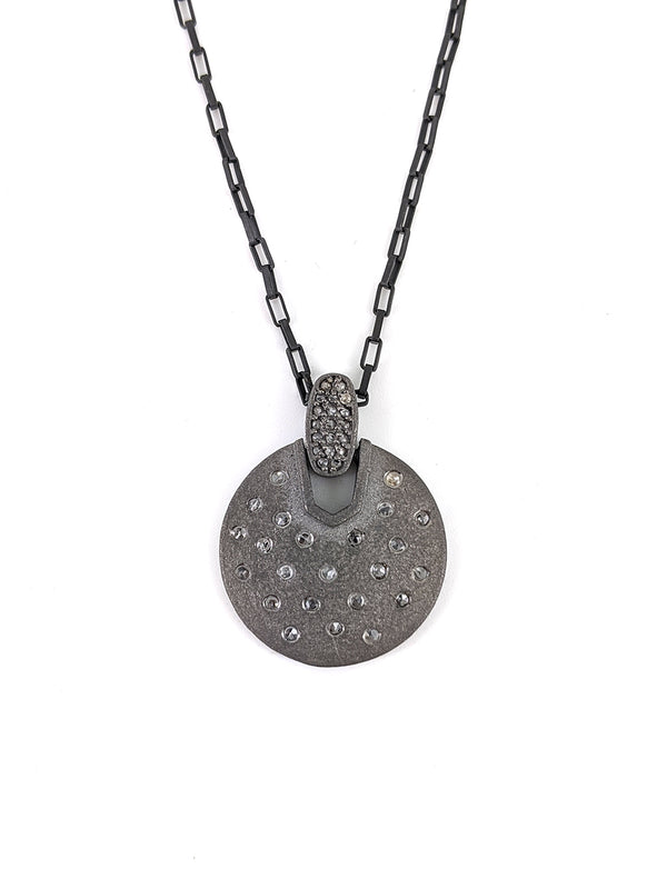 Silver Articulated Diamond Disc Necklace