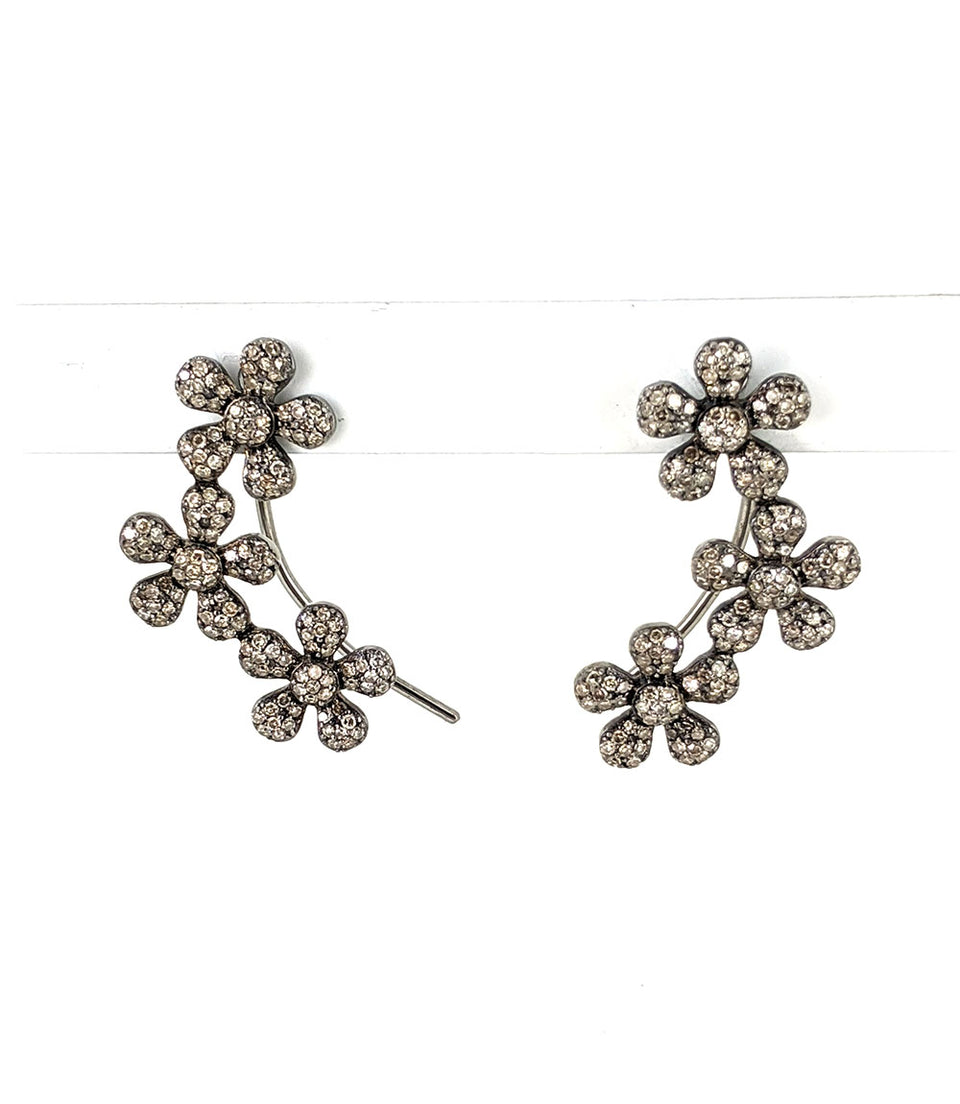 Diamond and Silver Flower Earrings