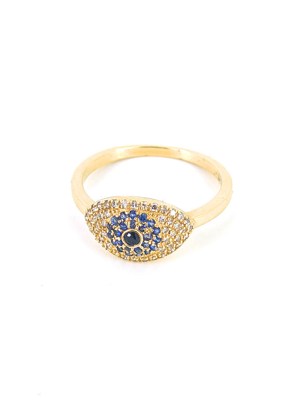 Gold Sapphire and Diamond Evil Eye Ring