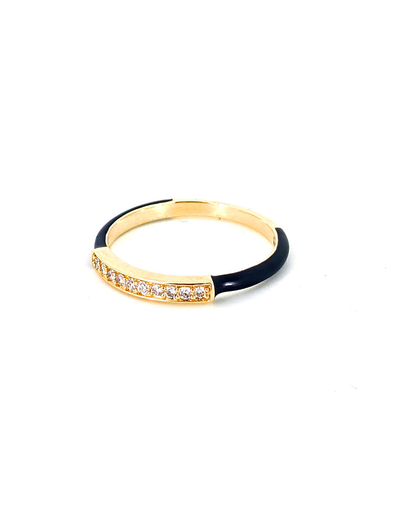 Black Enamel and Diamond Bar Gold Ring