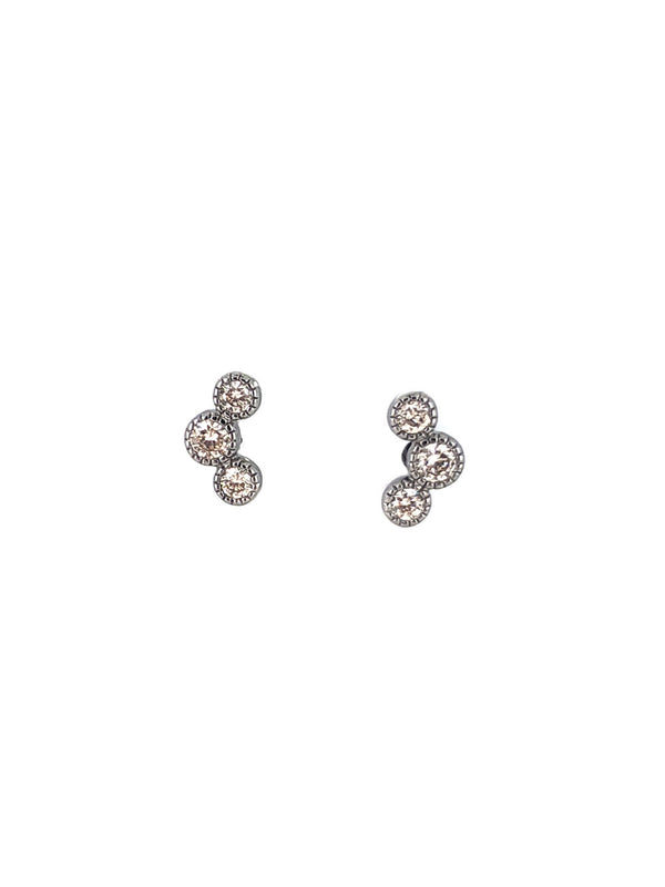 Three Diamond Curve Earrings