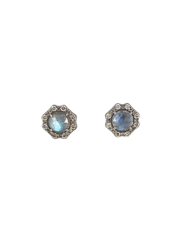 Silver Star Sapphire Mirror Earrings