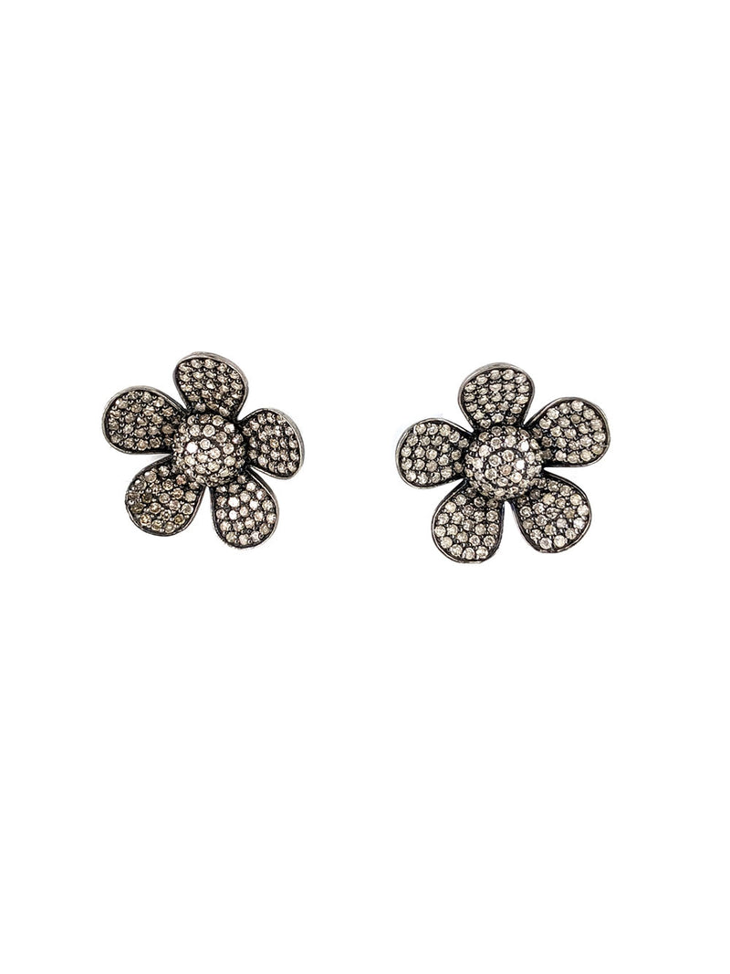 Pave Diamond Flower Gold Post Studs