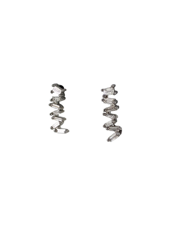 Falling Baguette Diamond Earrings