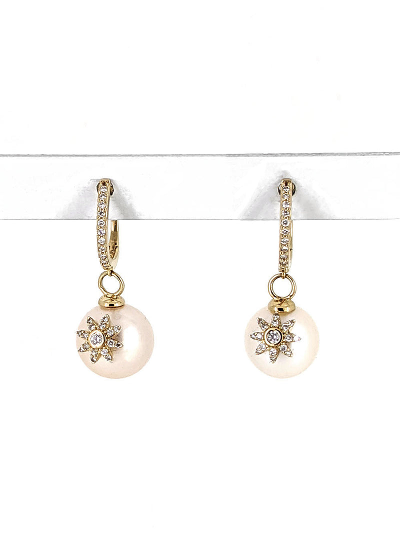 Diamond Flower on Pearl Drop Earrings