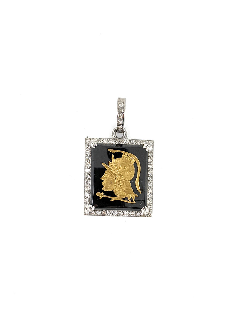 Gold Centurion Cameo in Onyx Pendant