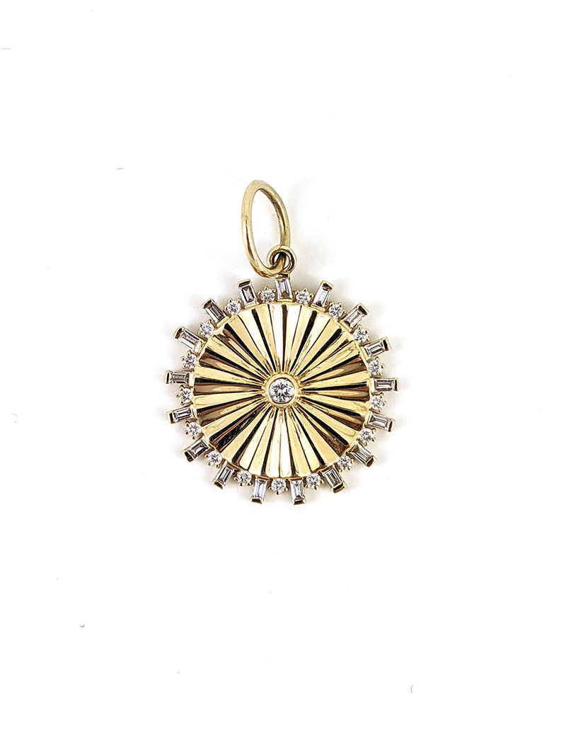 Baguette Diamond Disc Pendant