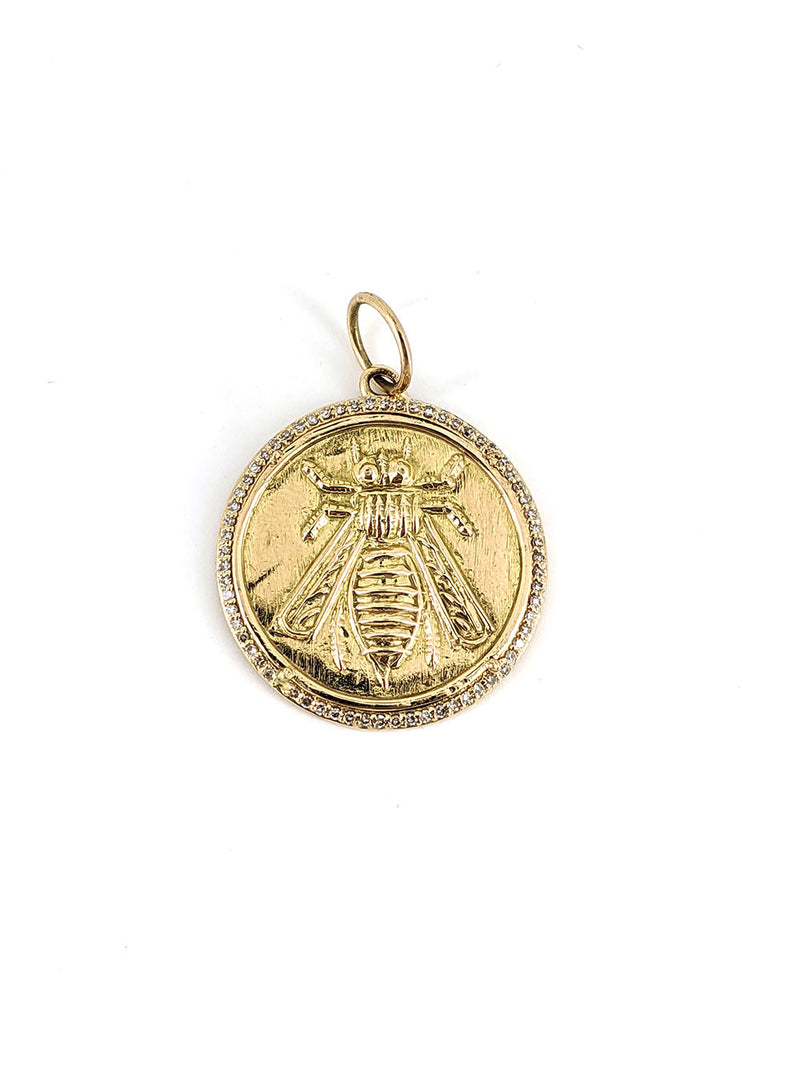 Embossed Gold Bee Disc Pendant