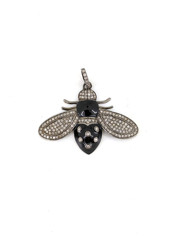 Black Enamel Diamond Bee Pendant
