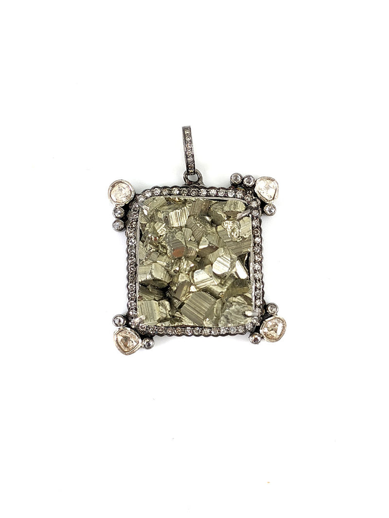Square Pyrite Diamond and Silver Pendant