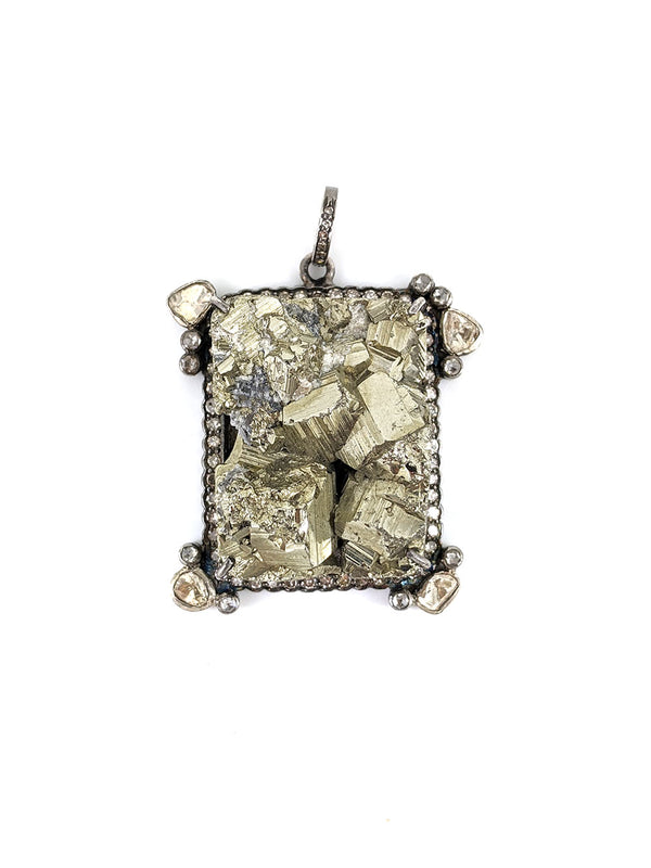 Rectangular Pyrite Diamond and Silver Pendant