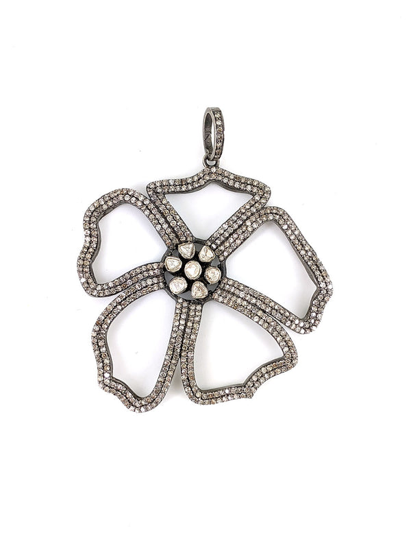 Diamond Hibiscus Flower Pendant