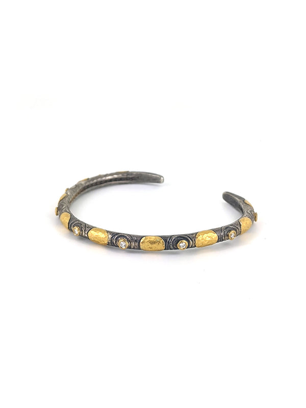 Gold Circles and Diamonds on Silver Bangle