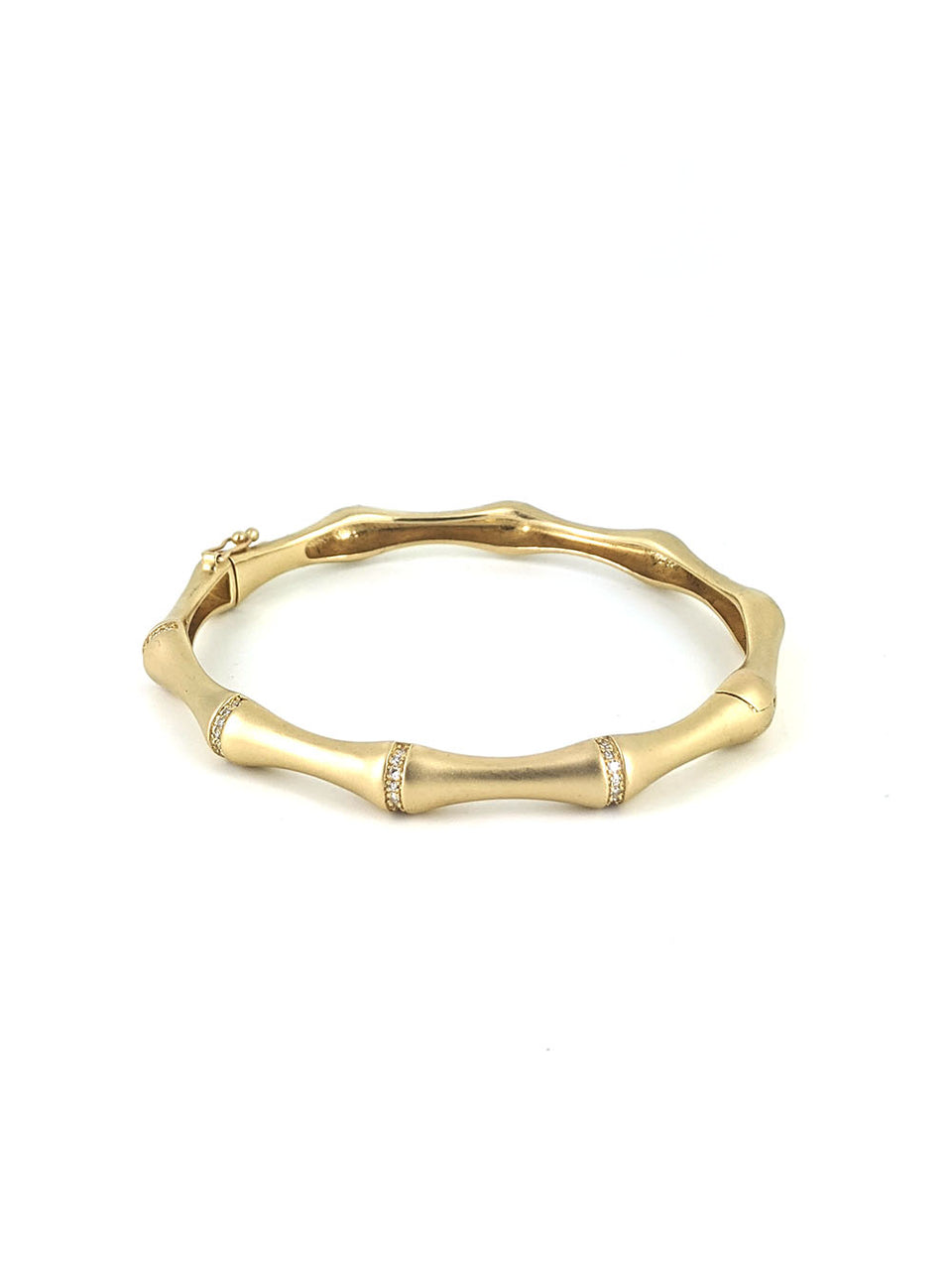 Gold and Diamond Bamboo Bracelet