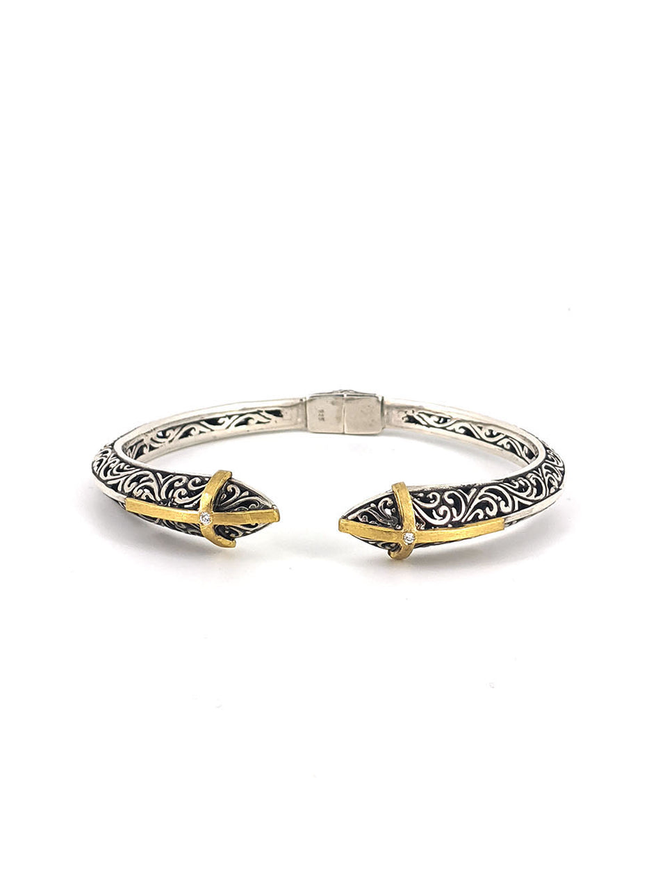 Gold Cross and Diamond on Silver Filigree Bangle