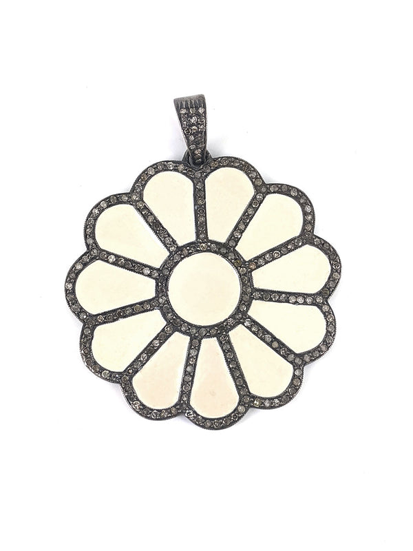 Flower Enamel Pendant with Diamonds