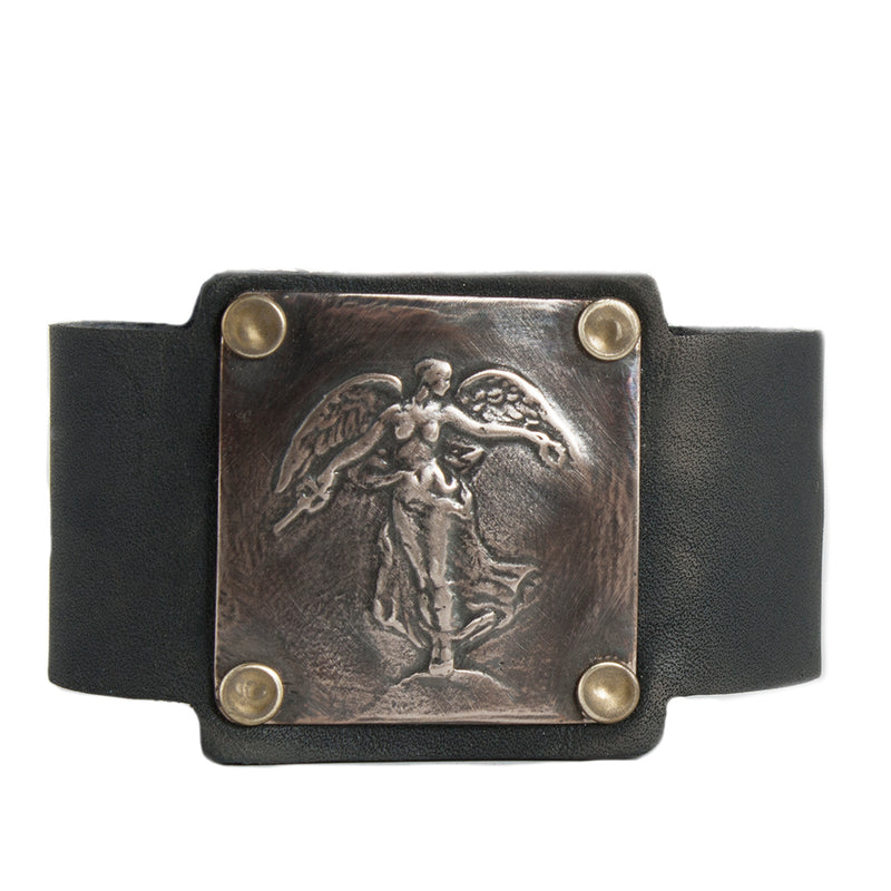 WW1 Winged Victory Angel Unisex Leather Cuff Bracelet