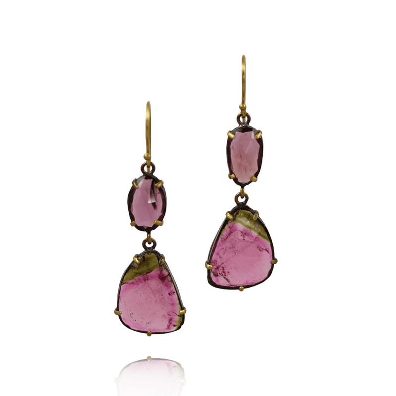 Oxidized Silver, Gold Tourmaline Earrings