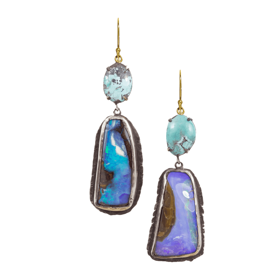 Turquoise Boulder Opal Earrings