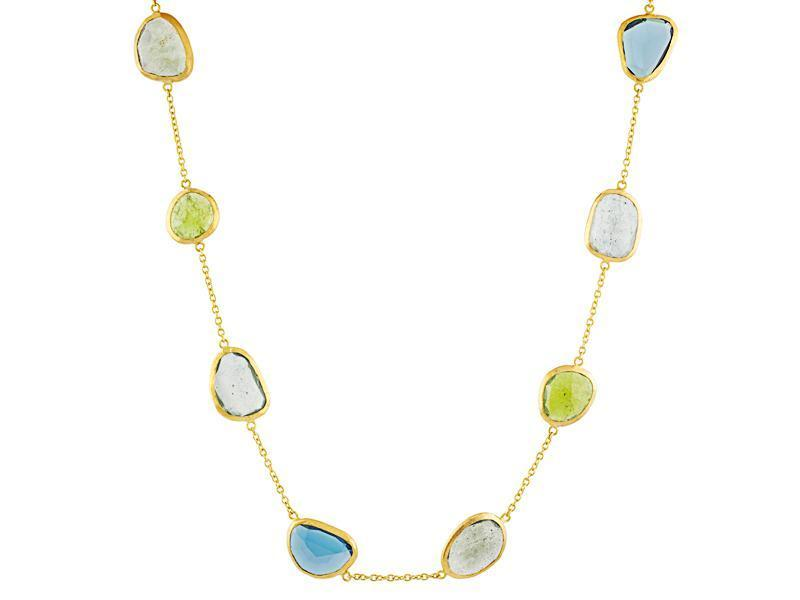 Elements Station Necklace - Aqua, Tourmaline, Blue Topaz