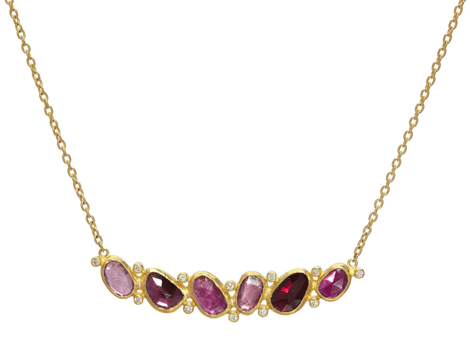 Pointelle Hue Pink Tourmaline Diamond Pendant Necklace
