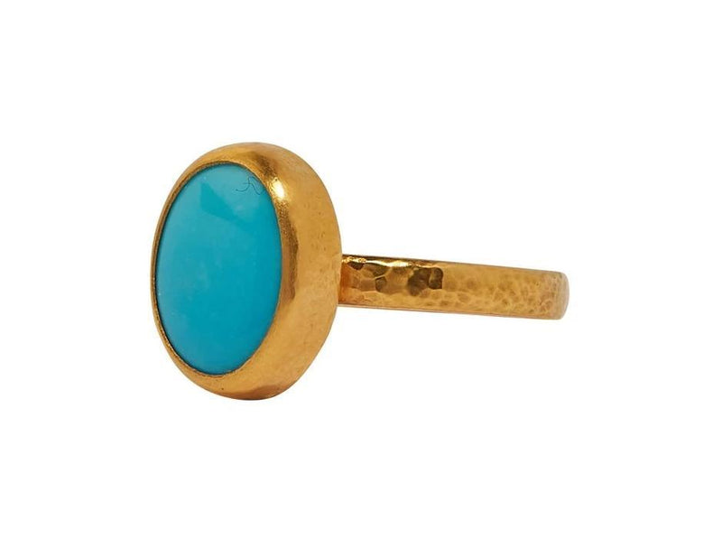 Turquoise Rune Gold Ring - 7