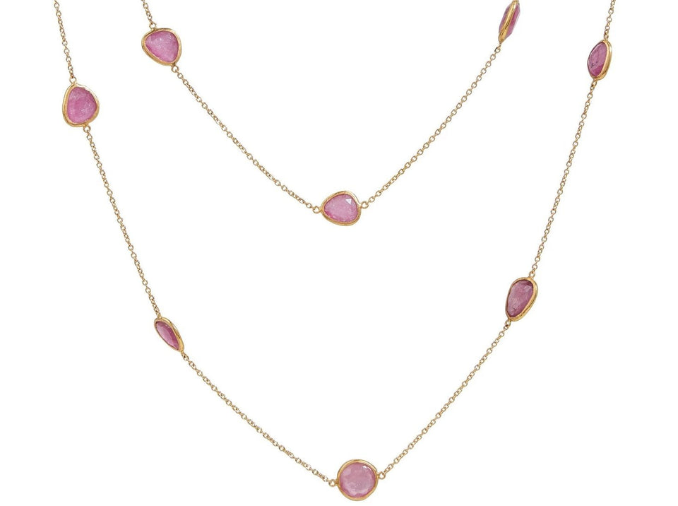 One-of-a-kind Rune Station Necklace, slices of Pink TourmaLine, 45""