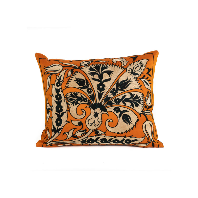 Uzbekistan Pillow Small - Orange Black Floral in White