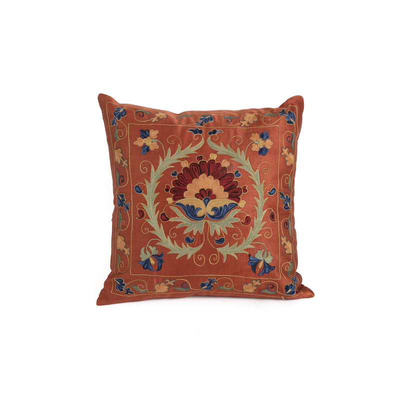 Uzbekistan Pillow Small - Orange Floral Halo