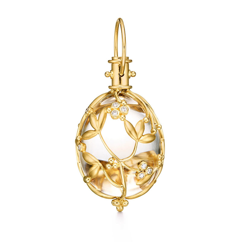 18K Vine Amulet with oval rock crystal and diamond