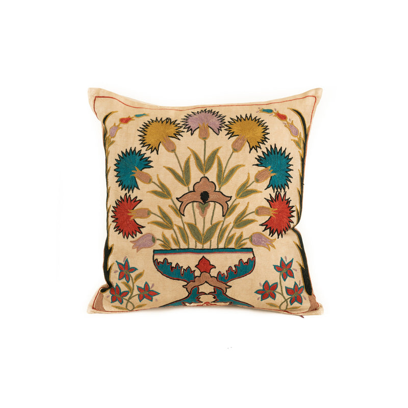 Uzbekistan Pillow Small - Ivory Colorful Bouquet